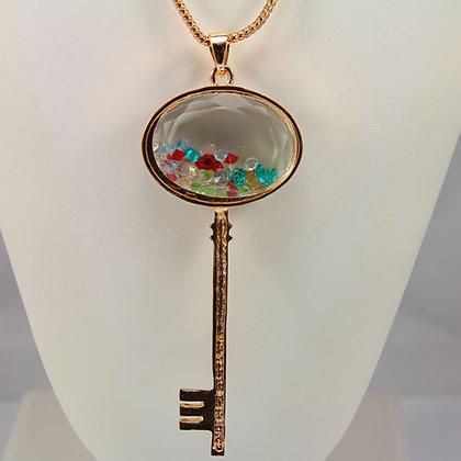 CIARA 14KGP Key Pendant Necklace.