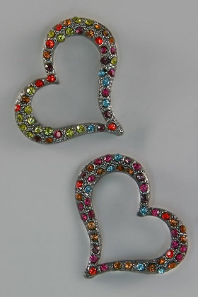 """Belle"" Multi Color Crystal Stud Heart Earrings"
