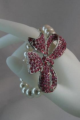 """Ariella"" Pink Crystal & Pearl Ribbon Link Stretch Bracelet"