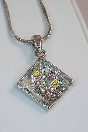 """""""Flora"""" White Gold Plated Crystal Flower Pendant"""