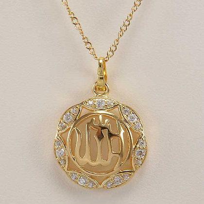 """""""Farica"""" 18K YGP """"Allah"""" Pendant"""