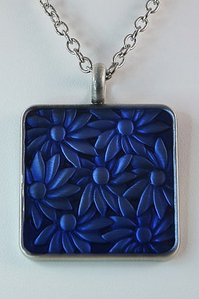 """Effa""Antique Plated Brass Epoxy Floral Pendant"