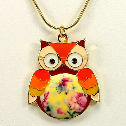 WISE EYES Vintage Glaze Color Owl Pendant