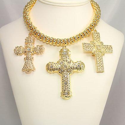 FIORIN Cross Choker Necklace