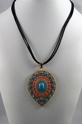 """Sheryl"" Art Deco Colored Stone Pendant Necklace"