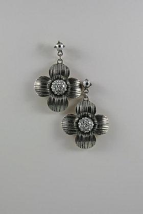 """""""Darya"""" Silver Crystal Silver Tone Flower Earrings"""