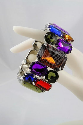 """Calista"" Mesh-Wrapped Epoxy Stone Stretch Bracele"