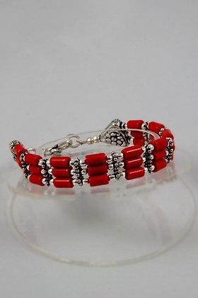 """Nevada"" Red Coral Tibetan Silver Bracelet"