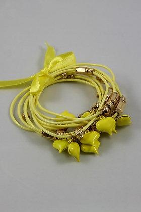 Orisha Oshun Heart Charm Multi Cord Bracelet