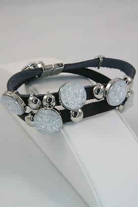 Snow Crystal Metal Disk Leather Bracelet