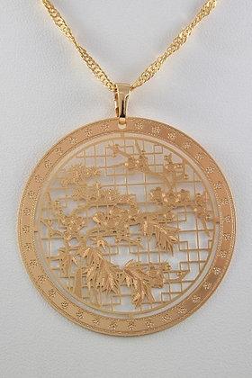 """Asia""24K Rose Gold Plated Filigree Pendant"
