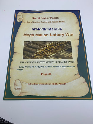MEGA MILLION LOTTERY WIN Book of Shadow Page Demonic Magick