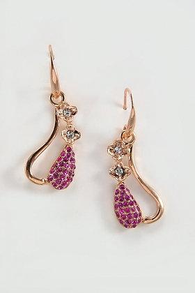 """""""Rossia"""" 18K Rose Gold Ruby Swarovski Lever Back Drop Earrings"""