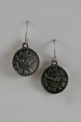 """Rome"" Antique Silver Tone Roman Clock Earrings"