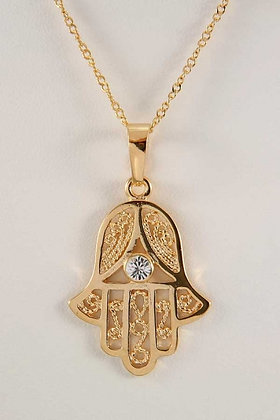 """Amina"" Hamsa Hand With Clear Zircon Pendant"