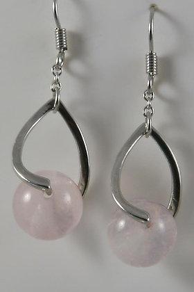 KELIYA Natural Pink Quartz Ball Earrings.