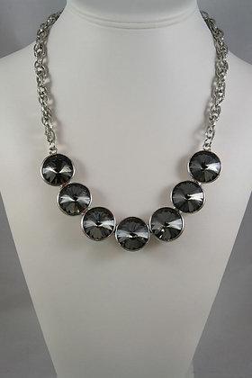 """Lola""Silver Tone & Black Facet Glass Necklace"