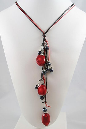"""""""Colette"""" Black Pearl & Coral Beads Necklace"""