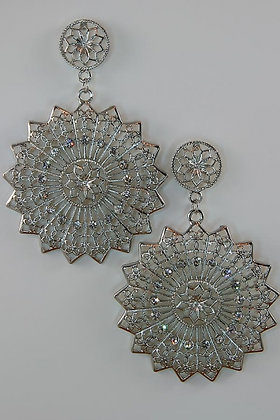 """""""Lailana"""" Crystal Accented Large Metal Round Disk Stud Earrings"""