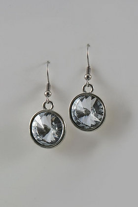 """Hilma"" Round Facet Glass Earrings"