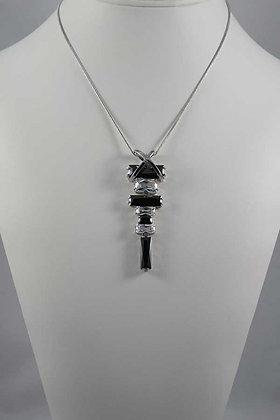 """""""Liana"""" Black & Clear Zircon WGP Brass Necklace"""