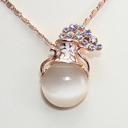 NONA Simulated Opal Vase Pendant Necklace