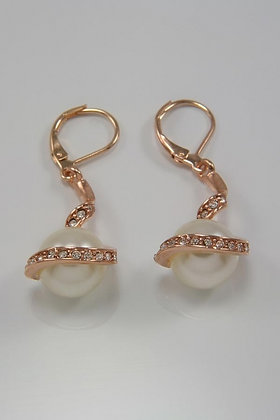 """""""Norina"""" 18K Pink Gold Crystal and Pearl Lever Back Earrings"""