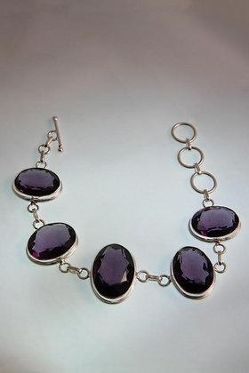 """Violeta"" .925 Sterling Silver Amethist Braselet"