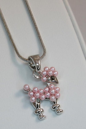 """""""Coco""""White Gold Plated Pink Pearl Puppy Pendant"""