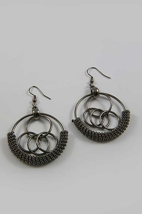 """Rima B"" Multi Circle Black Twisted Dangle Earrings"