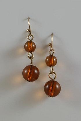 """Jasminia"" Amber Color Bead Gold Tone Hook Earring"