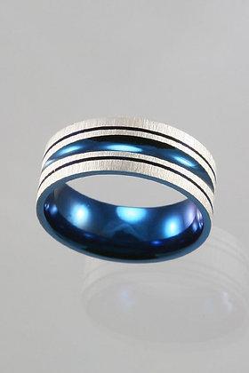 Blue & Silver Titanium Ring