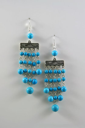 """""""Denise"""" Sterling Silver Hooks With Blue Turquoise"""