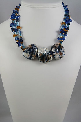 """""""Elrica""""Blue Stone & Glass Beads 19""""L Necklace"""