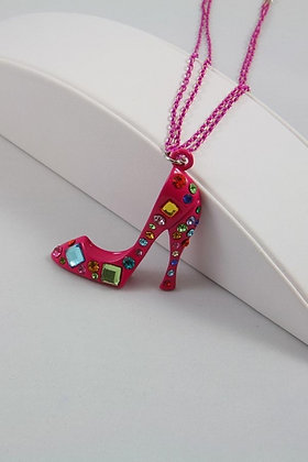 """""""Chada""""Pink Multicolor Crystal High Heal Shoe Pend"""