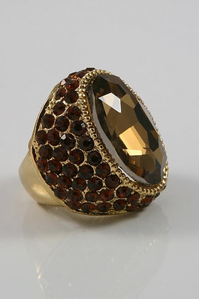 """""""Heldy""""Brown Facet Glass & Crystal Stretch Ring"""
