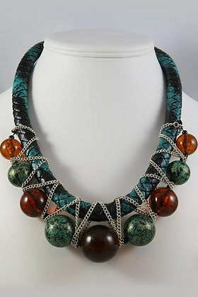 """""""Felyce"""" Brown Glass & Patina Ball Necklace"""