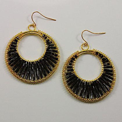 """Doriani"" Black Beads Circle Dangle Earring"