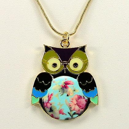 WISE EYES Vintage Glaze Color Owl Pendant