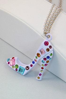 """Chanten""White & Multicolor Crystal High Heal Shoe"