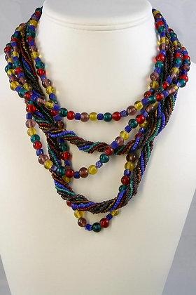 """Erato""' Multy Colored Glass & Bead Necklace"