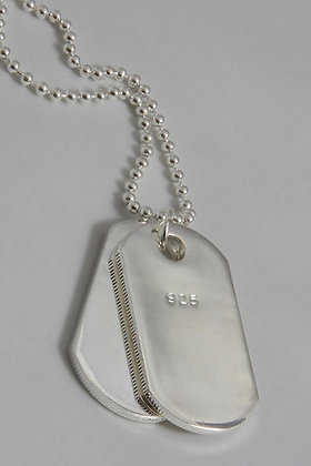 """""""Americus"""".925 Sterling Silver Dog-Tag Pendant"""