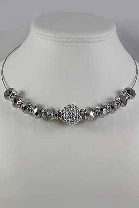 """Evita""Silver Tone Crystal Fireball Necklace"