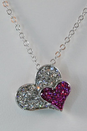 """Anari""White Gold Plated Crystal Heart Pendant"