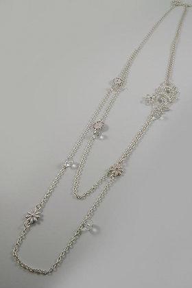 """""""Karen"""" White Metal Filigree Flower Necklace"""
