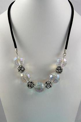 FINA Art Deco Crystal Ball on Velvet  Necklace