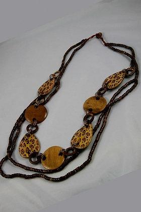 """""""Pamela""""Tropical Wooden Disk Necklace"""