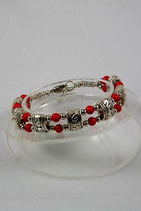 """Daria"" Coral Bead Tibetan Silver Bracelet"