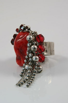 """Karis""Red Stone & Crystal Stretch Ring"