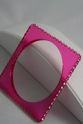 """""""Melodyn"""" Pink Crystal Square Shape Acrylic Bracelet"""